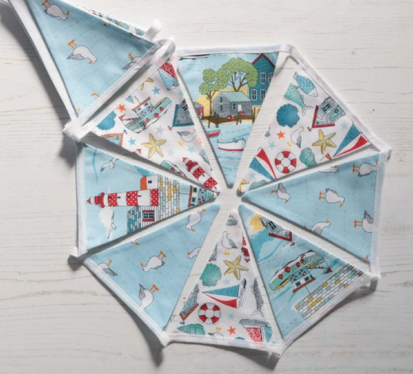 Summer  Seaside with Seagulls Mini Cotton Bunting (Price Inc P&P)